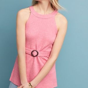 Anthropologie Pinkish Red Belted Halter Top S